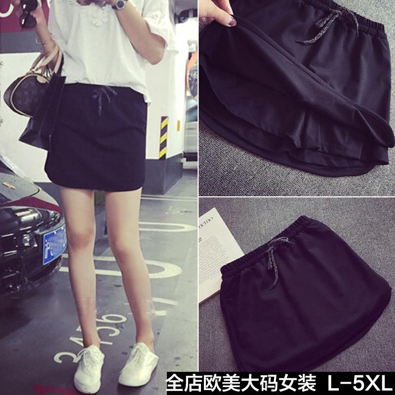 Versi Korea Ukuran Besar Baju Wanita 2017 Pakaian Musim Panas Model Baru Lemak MM Adik Perempuan Gemuk 200 Pound Legging Aman Rok Celana Celana Pendek Wanita