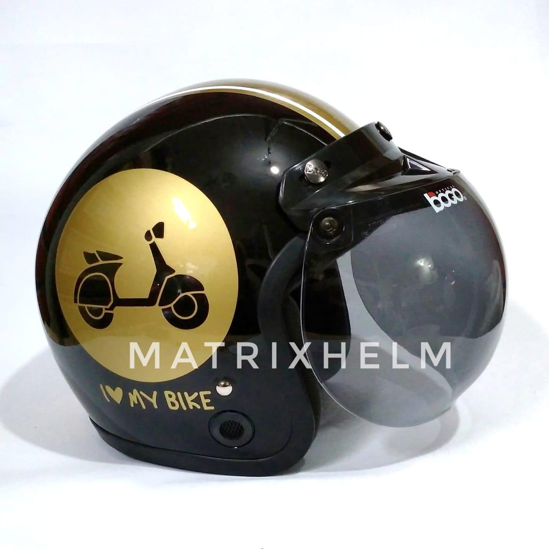 Matrixhelm Helm Bogo Dewasa motif I LOVE MY BIKE Hitam Gold Glossy
