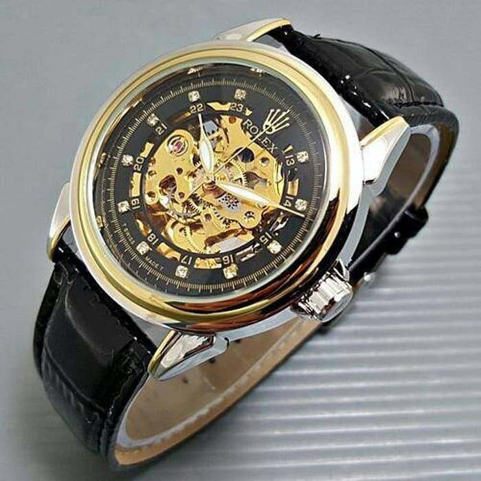 HARGA DISKON!!! Jam Tangan Pria / Cowok Rolex Skeleton Diamond Leather Black Kombinasi