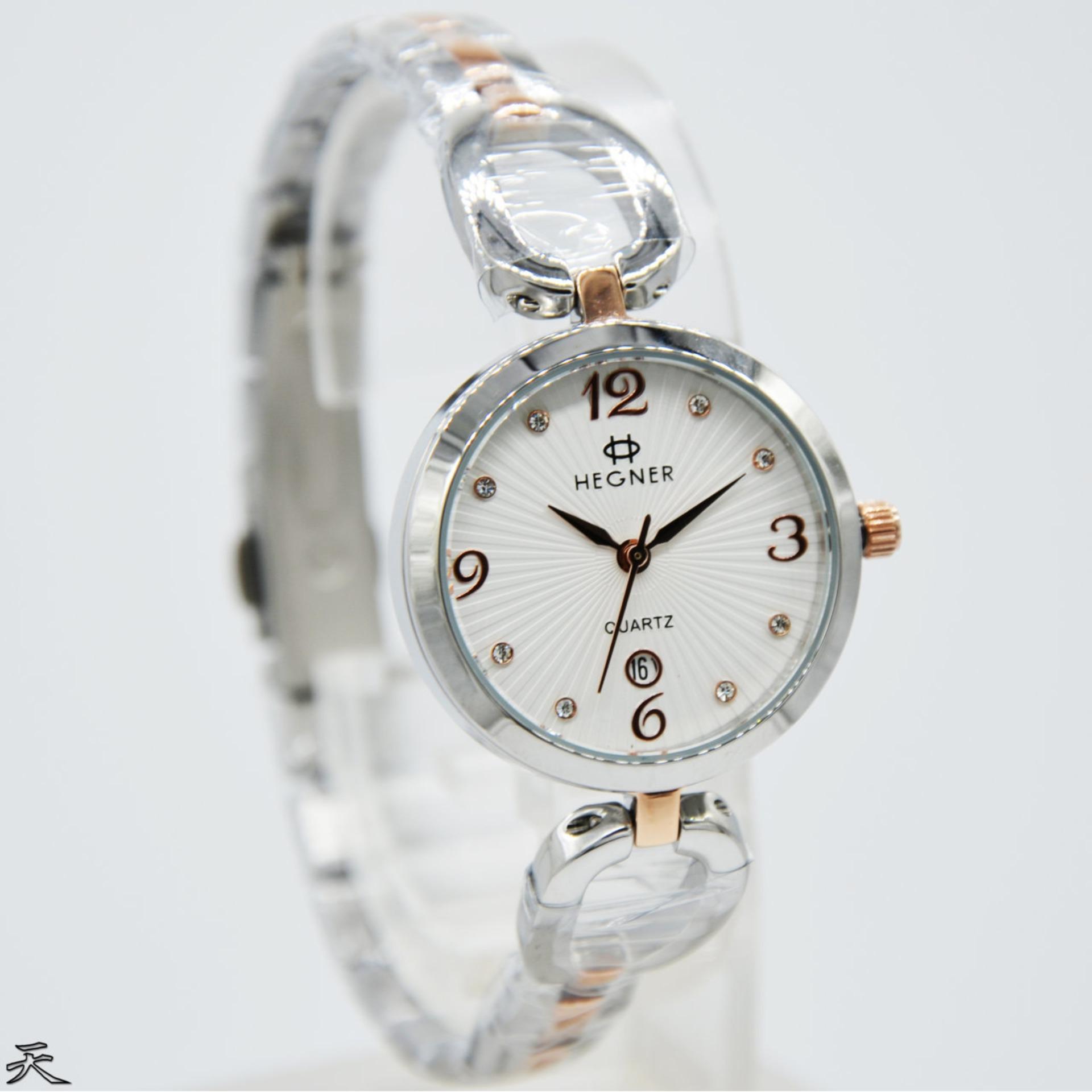 Hegner-HG5036L-Jam Tangan Wanita Stainless-Rosegold Combi Silver