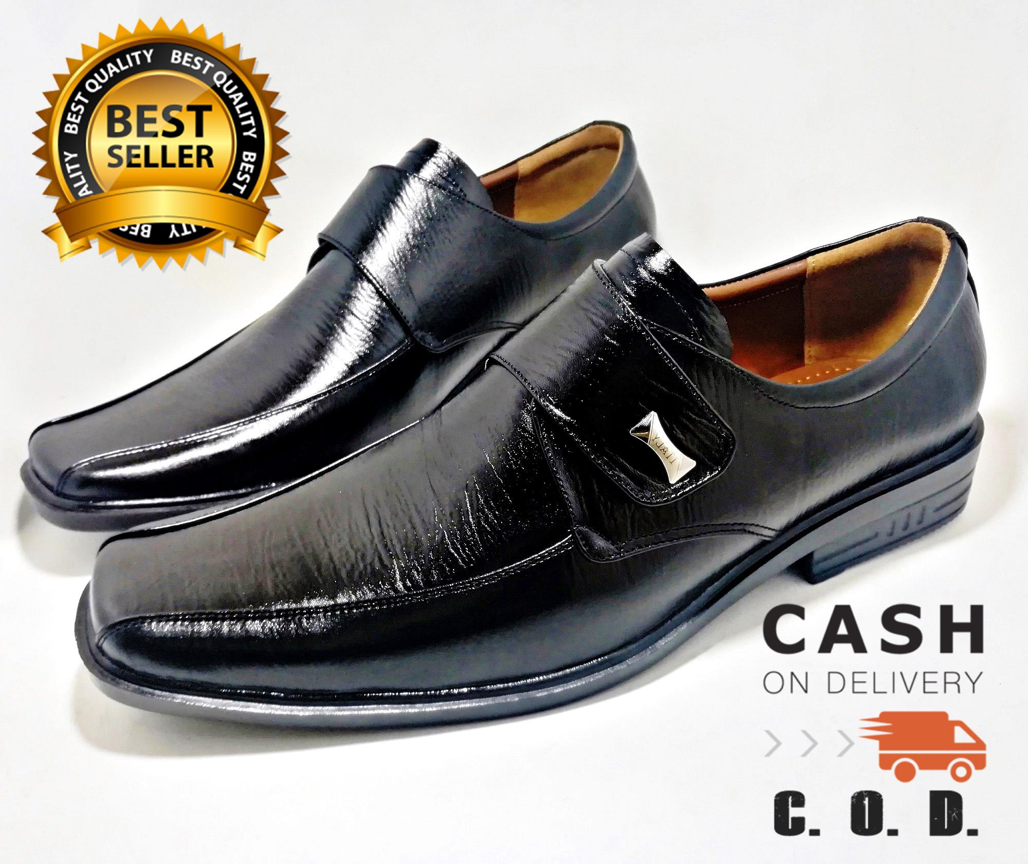 Sepatu Kantor Velcro Pria Kulit Asli 100% Bukan Sintetis Tekstur Serat Kayu  Pantofel Big Size 1c28554cec