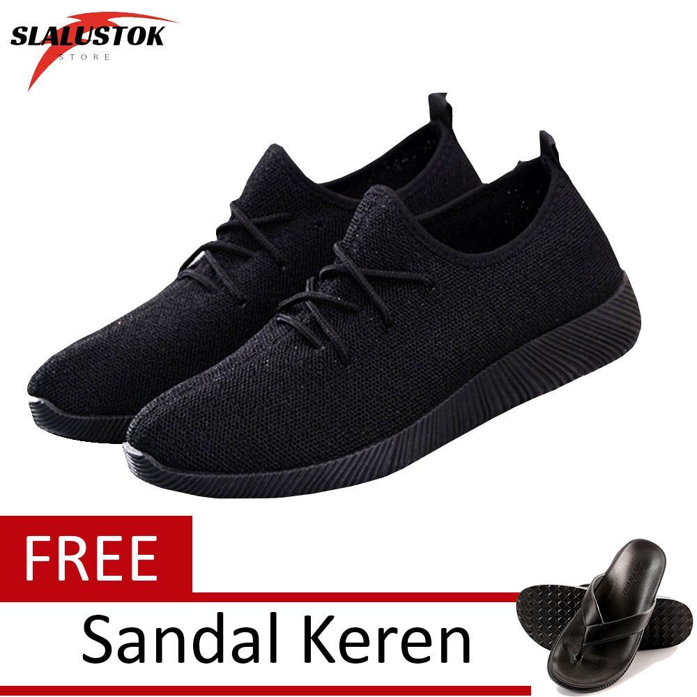 Slalustok Store Sepatu Pria danWanita - Sepatu Kets Sneaker YZ + FREE Sandal Casual Santai -
