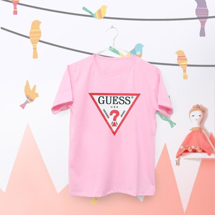 OBRAL Tumblr Tee \u002F T-Shirt \u002F Kaos Wanita Lengan Pendek Guess Warna Pink