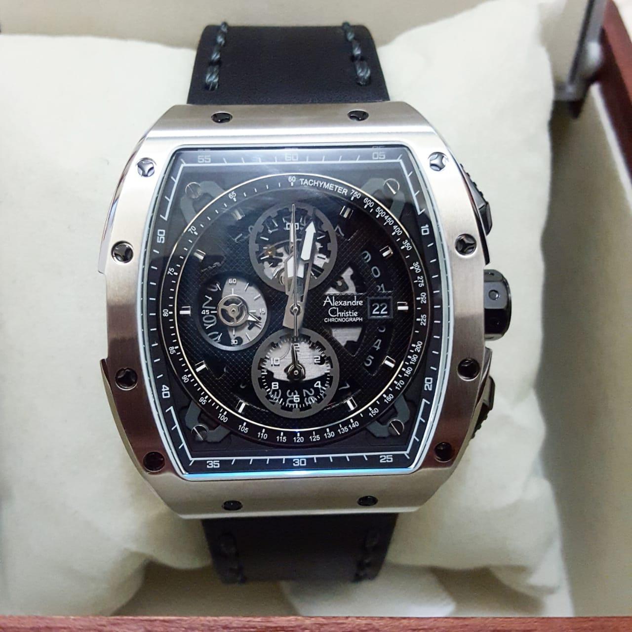 Alexandre Christie AC6411 Original Jam Tangan Pria Stainless Leather Hitam  Silver 0df0f80f82