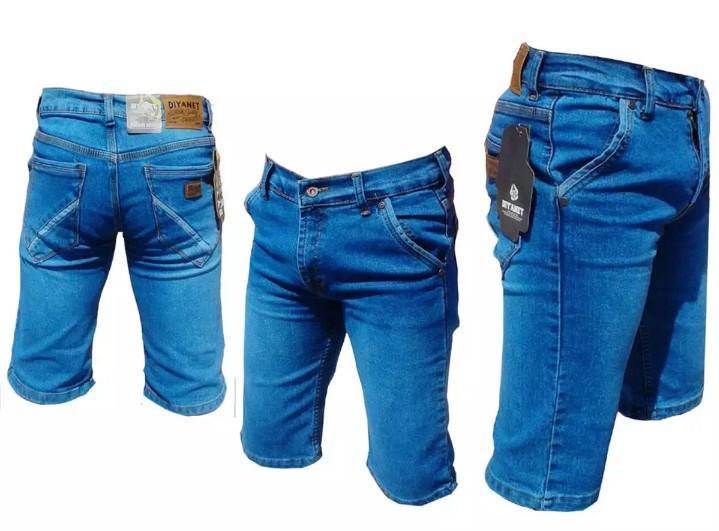 Celana Pendek Pria Biru Biowash / Celana Santai / Jeans Pendek pria / Fashion Pria