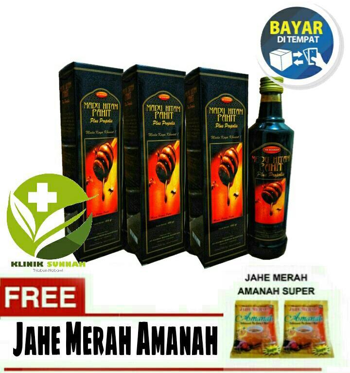 Paket 3 Botol Berkah Nusantara Madu Pahit Hitam Ar Rohmah 460 gr+ Jahe Amanah