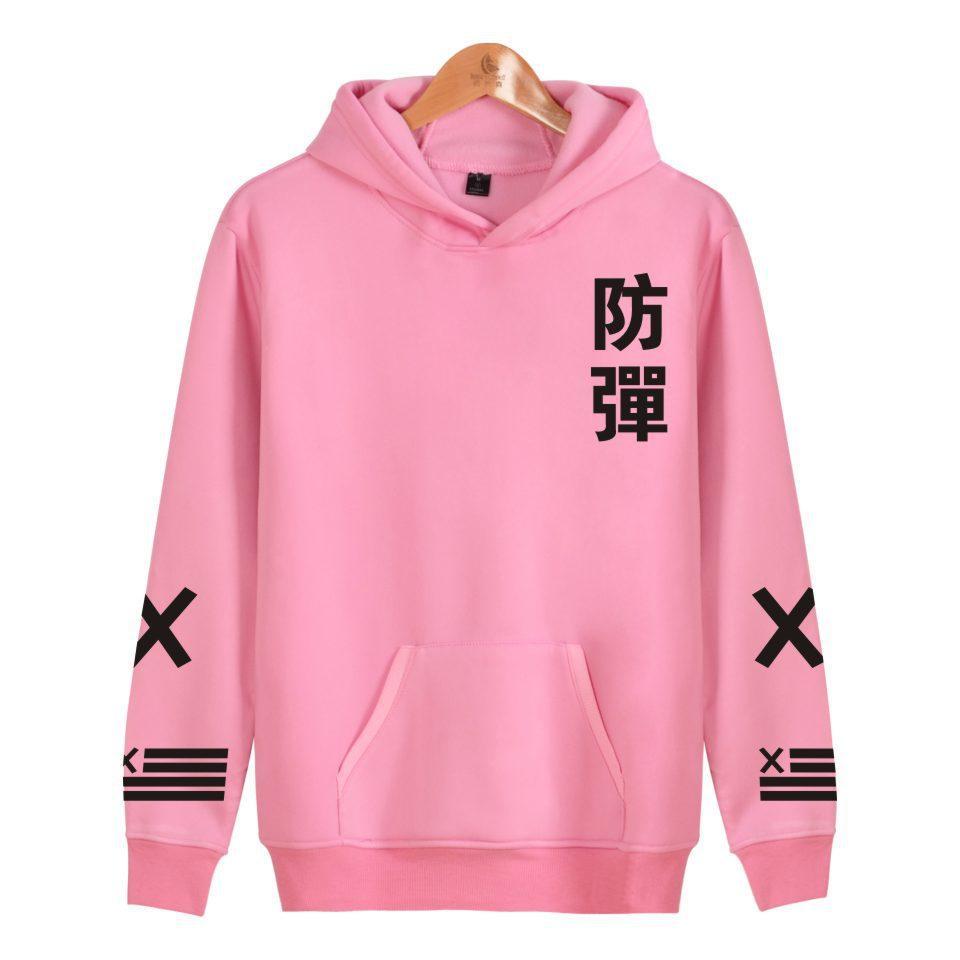 Katalog Sweater Cewek Fleece Hoodie Pink 2018 Wanita Bts Kim Tae Hyung Bertudung Bulu Huruf Internasional