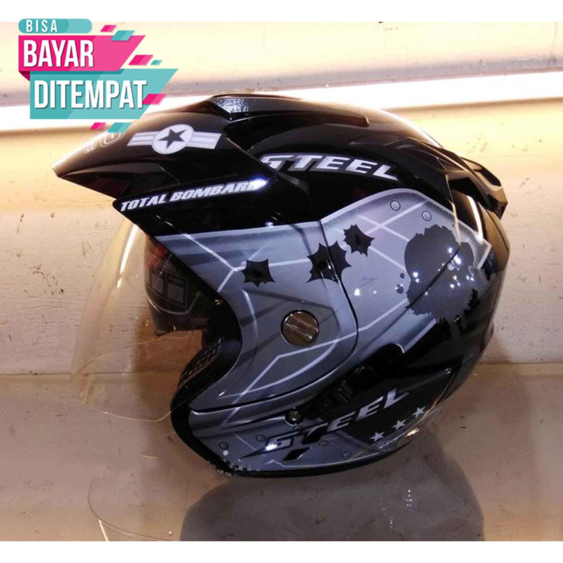 [Promo Best Seller] Helmet Dewasa Double Visor SNI Motoif Air Force Warna Hitam Abu Kualitas Setara Helm KYT INK GM WTO MSR BMC NHK