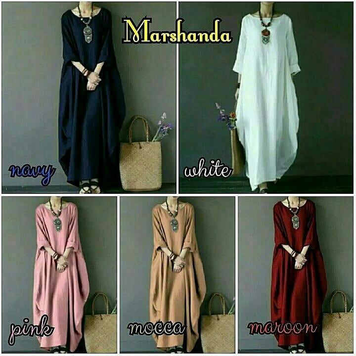 Baju Muslim Original Marshanda Dress Buble Crepe Gamis Panjang Terbaru Hijab Casual Pakaian Wanita Hijab Modern