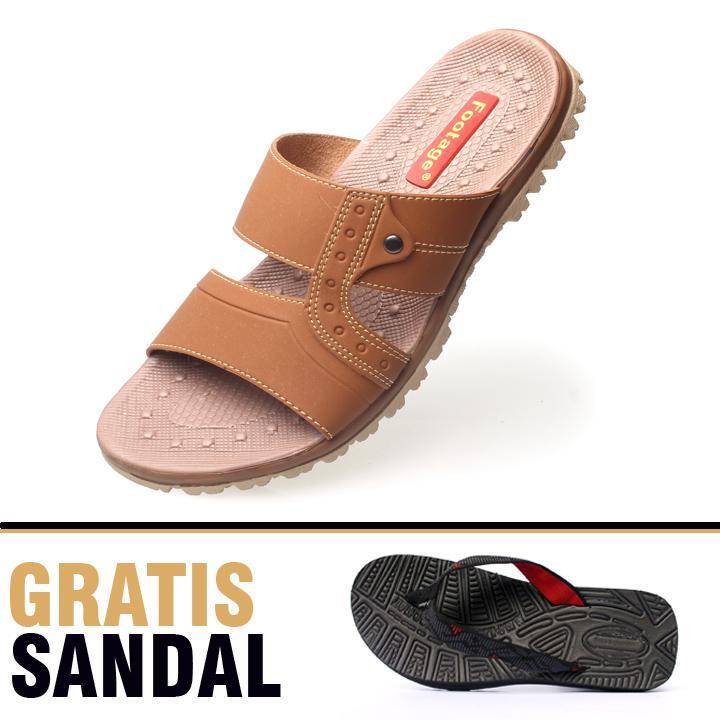 Footage Sandal Casual Pria F04 Tan Free Sandal Santai 102 Hitam