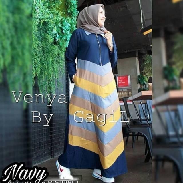 Venya Maxi / Gamis Hijab Murah Wanita / Maxy  Harga Grosir / Dress Pakaian Online / Busui Friendly (Mocca)