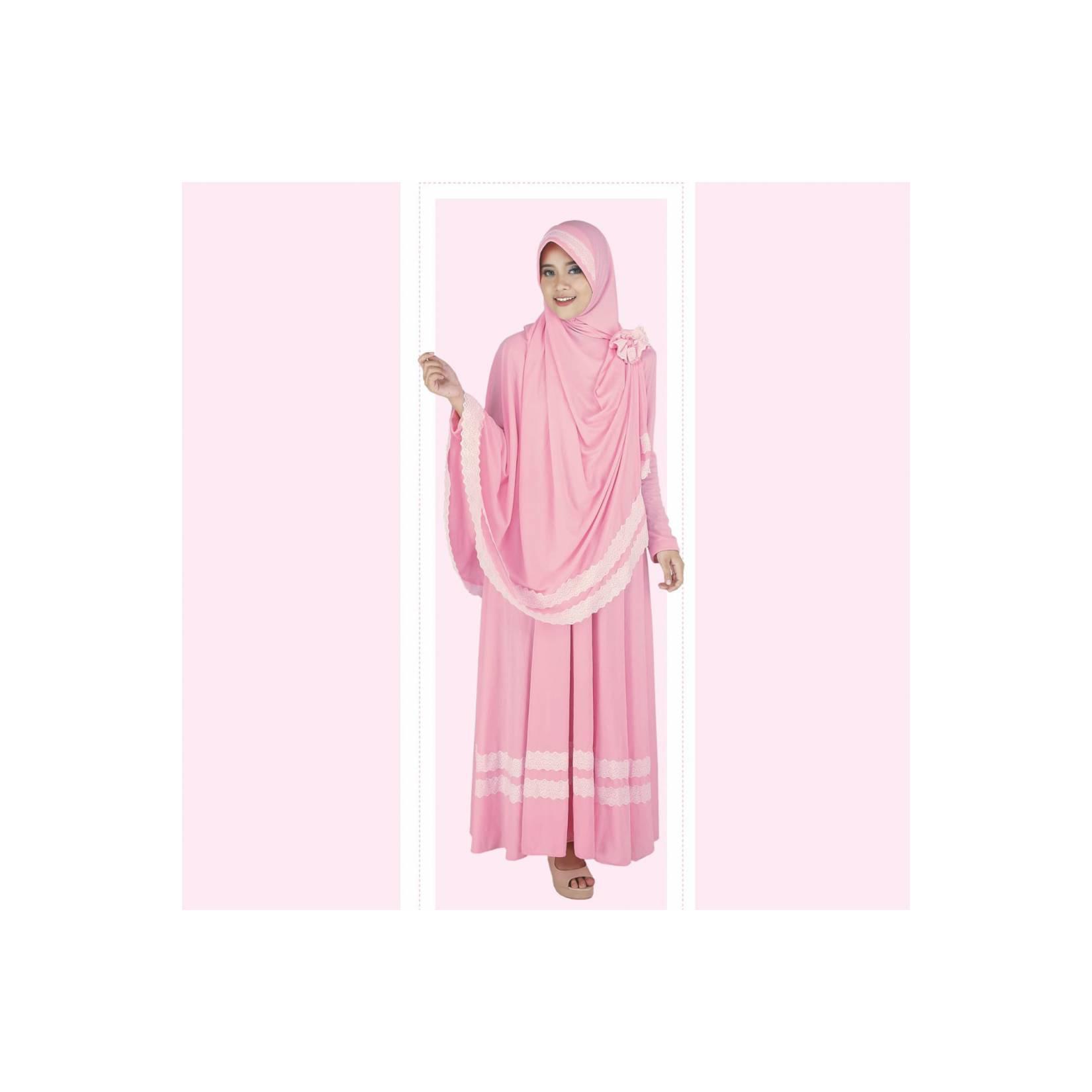 Baju Busana Muslim Gamis Pakistan Setelan Dress Casual Wanita Pink