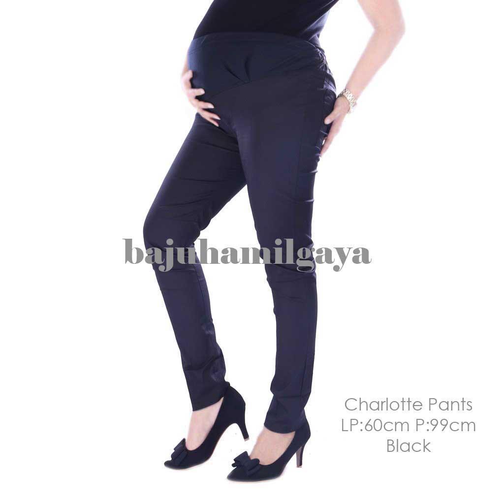 Baju Hamil Gaya - CHARLOTTE PANTS BLACK - Celana Hamil Murah / Celana Hamil Kerja / Celana Hamil / Celana Ibu Hamil / Celana Panjang Ibu Hamil / Baju Wanita Harga Murah / Celana Kerja Ibu Hamil / Baju Cewek Kekinian