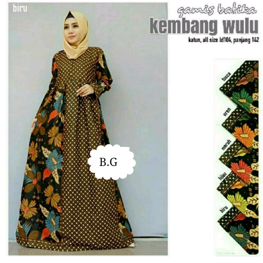 Gamis kembang wulu - gamis - gamis batik - dress - dress batik - batik wanita - batik murah di lapak Batik Gaul Pekalongan nur_janah2611