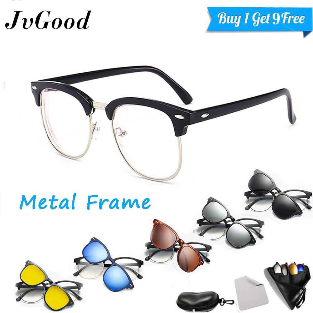 JvGood Frame Kacamata Pria Photocromic Clip On Clubmaster Anti Radiasi Komputer Gratis 5 Lensa Warna Sunglass Polaroid Night View