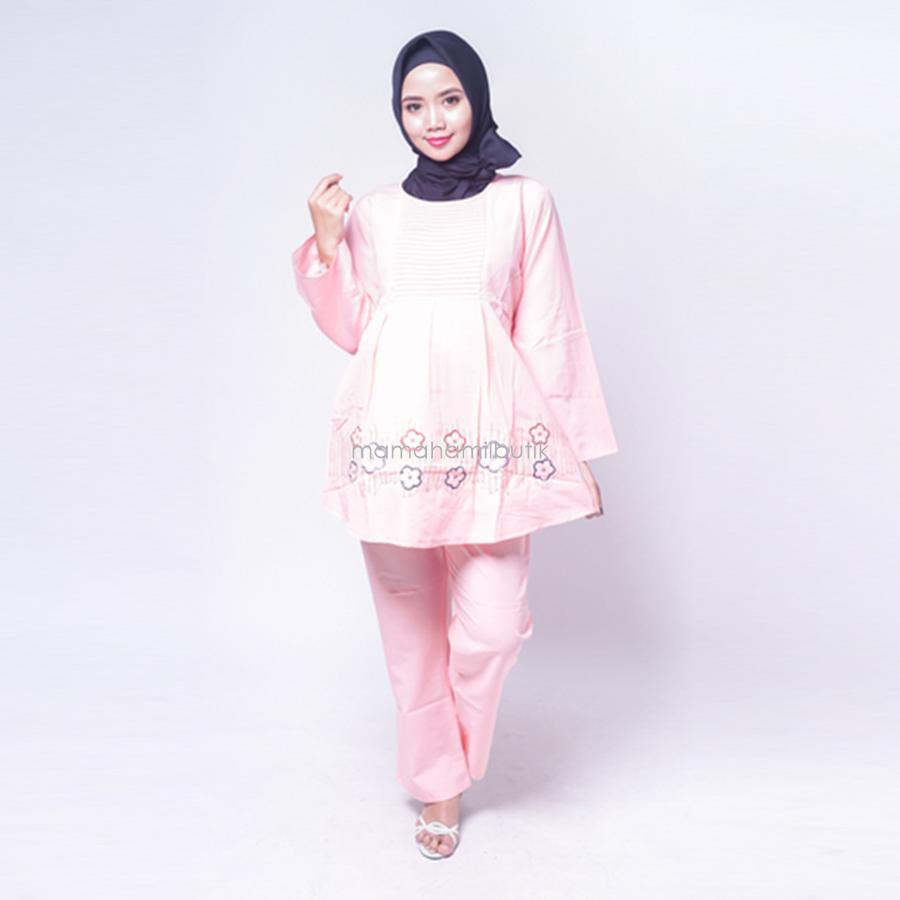 Ning Ayu Setelan Hamil Panjang Bunga Cantik Merah Biru Putih - STJ 84 / Baju Menyusui Lengan Panjang / Baju Atasan Menyusui / Baju Menyusui Muslimah / Baju Muslim Wanita untuk Ibu Menyusui/ Baju Hamil Untuk Kerja / Baju Hamil Untuk Kerja Modis