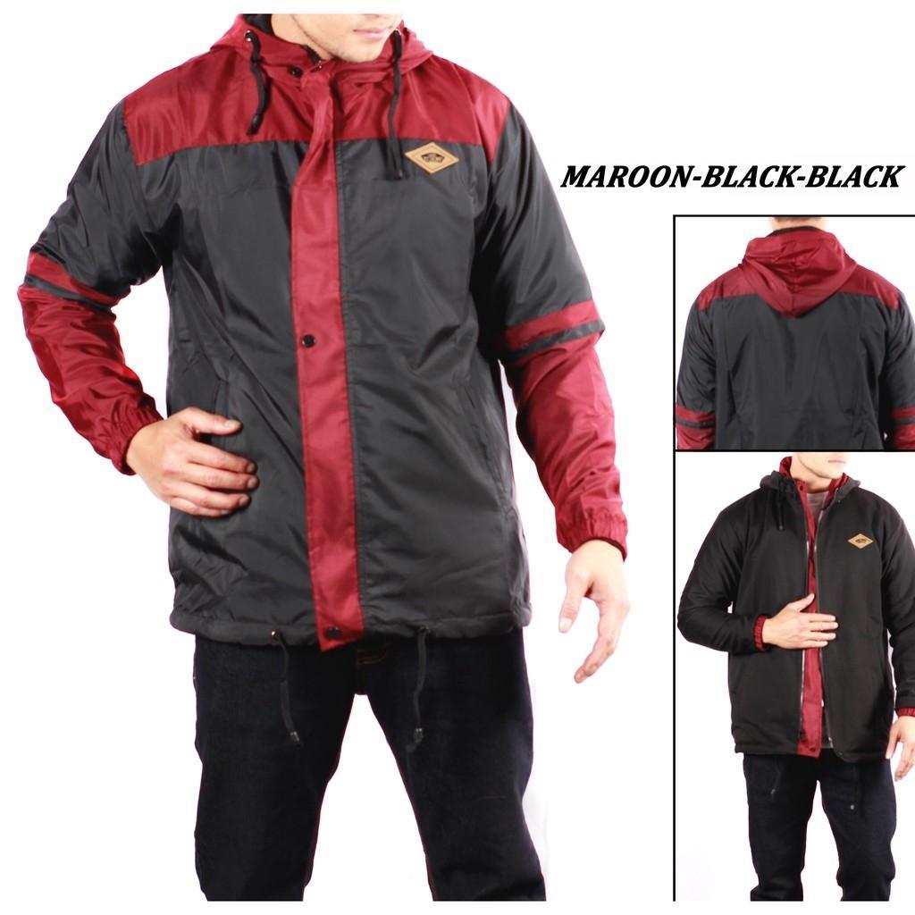 Jaket Parasut Bolak Balik Hoodie Pria -  Maroon Black