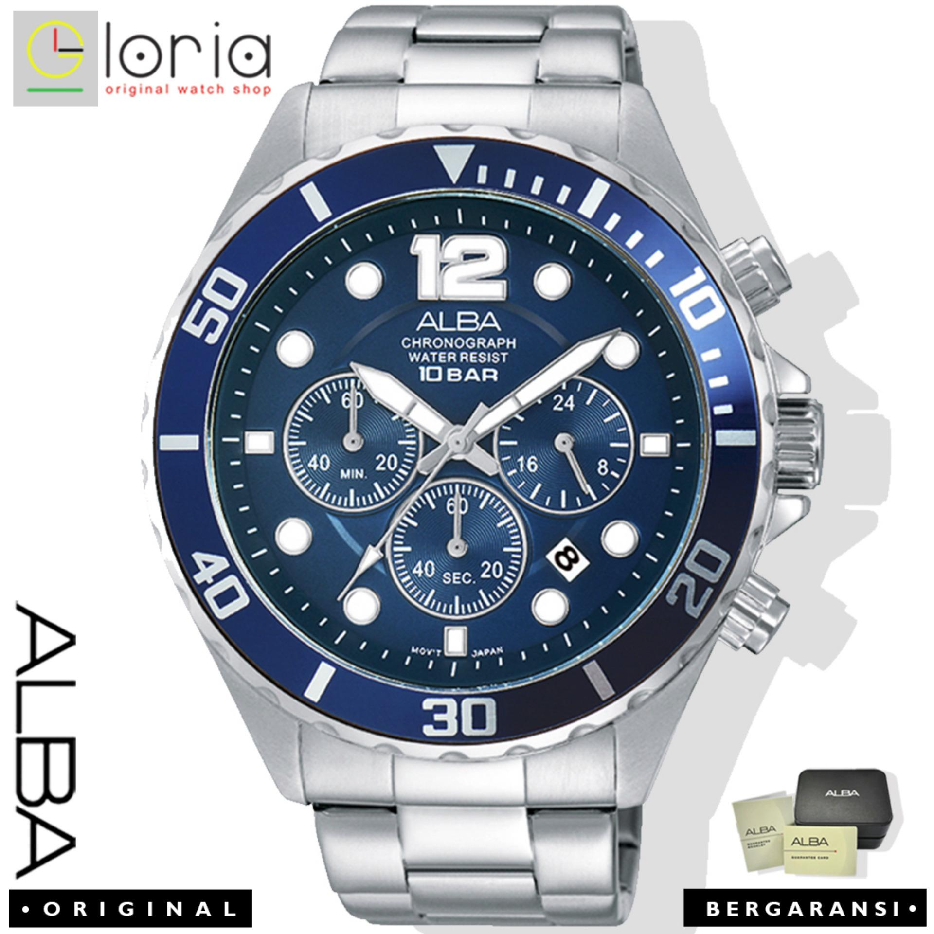 Alba AT3911x1 Chronograph Jam Tangan Pria Strap Stainless Steel - Blue