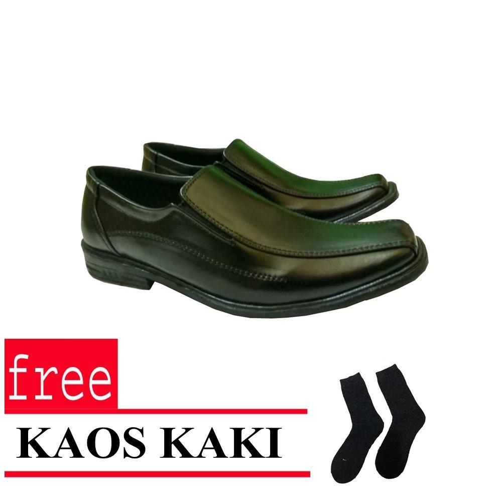 Sepatu Kerja Pria Kantor Pantofel Kulit Sintetis Free Kaos Kaki