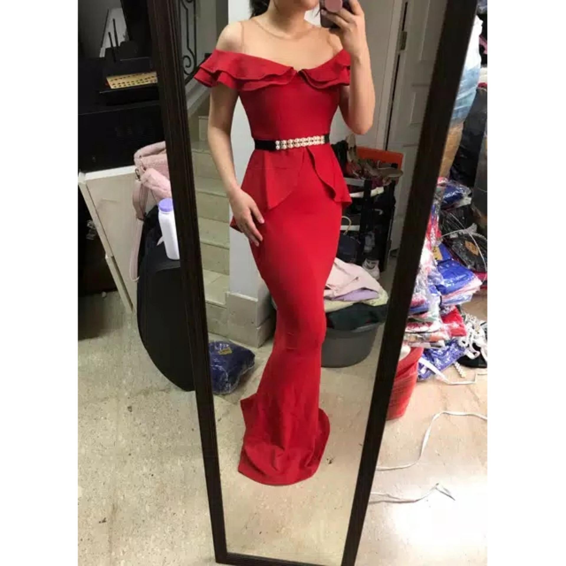 6069T# scuba long dress sabrina pesta premium SCUBA / longdress fashion