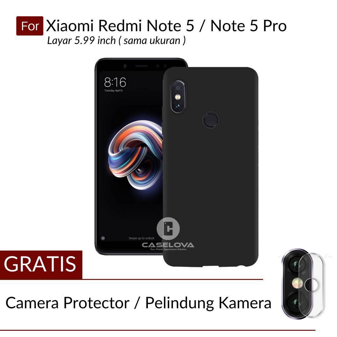 Caselova UltraSlim Black Matte Hybrid Case for Xiaomi Redmi Note 5 / Note 5 Pro Ukuran Layar 5.99 inch - Black + Gratis Camera Protector Pelindung Kamera