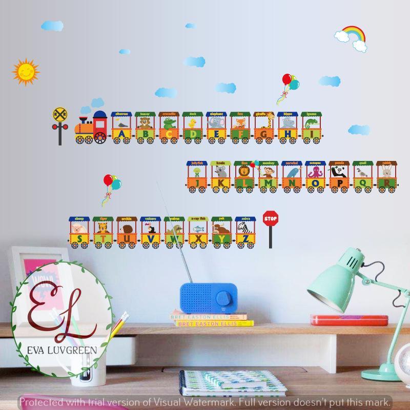 Eva Luvgreen Wallsticker Anak Kereta Animal Belajar Alfabet Ukuran XL Stiker Dinding/ Stiker Tembok/ Wallpaper Sticker/ Wall Paper Sticker/ Wall Sticker ...
