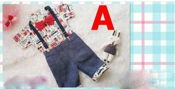 Setelan Anak Cowok Kemeja Karakter plus Suspender  - Baju Anak Laki-Laki Murah - Stelan Formal dasi - Pakaian Pesta Bayi