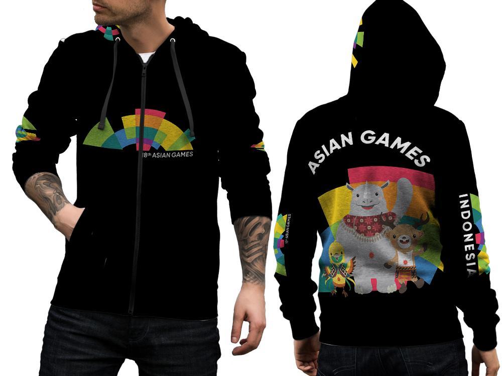 Jaket Sweater Hoodie Zipper Fullprint Custom Asian Games 2018