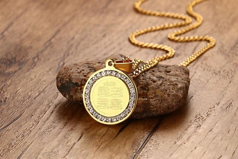 Vnox Islam Kalung Gold-Warna Round Kalung Perhiasan Agama dengan Indah CZ Batu-Intl
