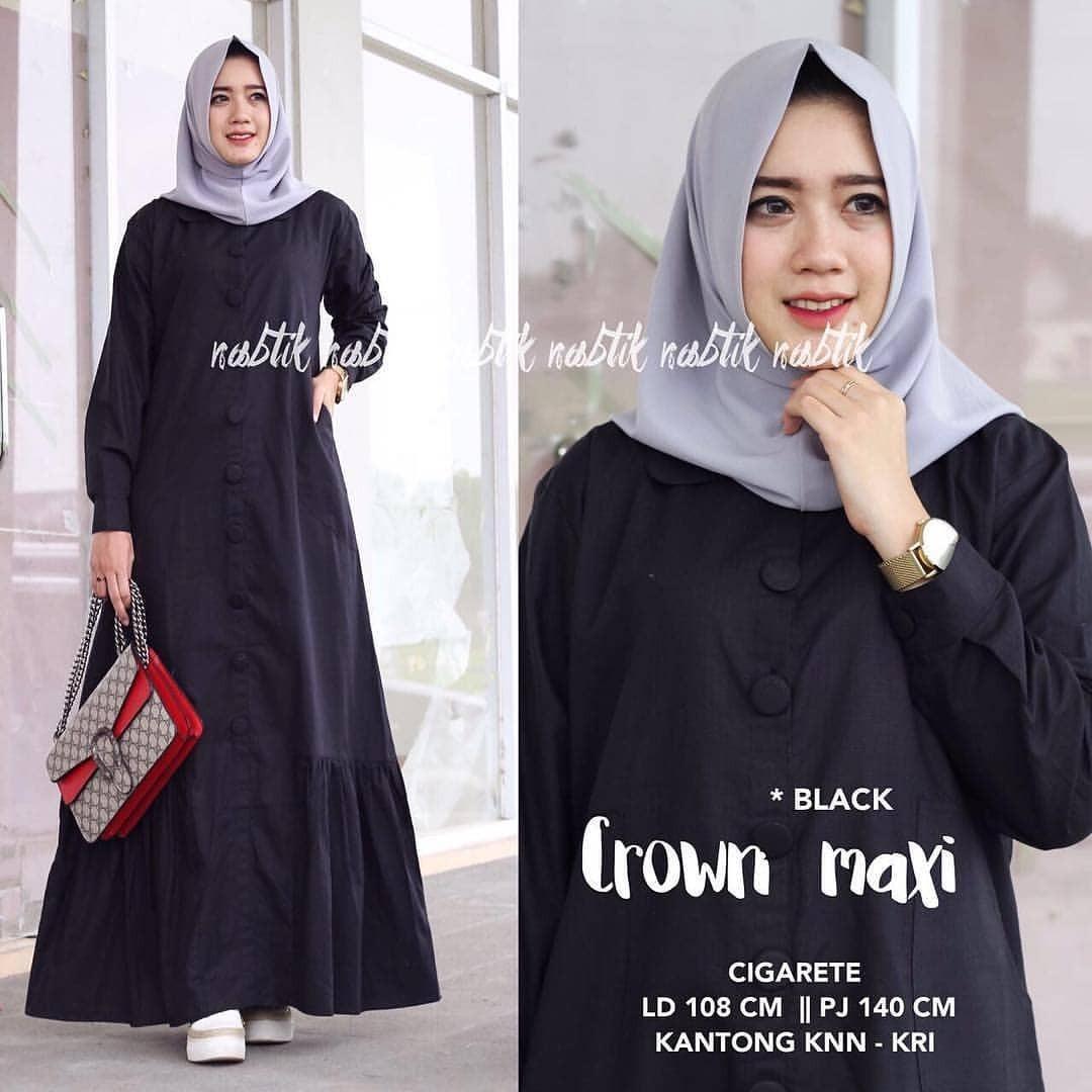 Baju Original Crown Maxi Dress Balotelly Gamis Panjang Hijab Casual Pakaian Wanita Terbaru Tahun 2018