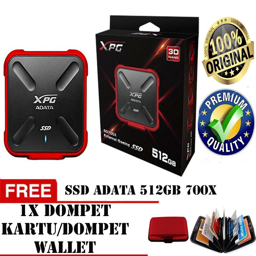 SSD Adata 700X 512 GB External Gaming 3D NAND MERAH-ORIGINAL FREE DOMPET KARTU/ DOMPET WALLET