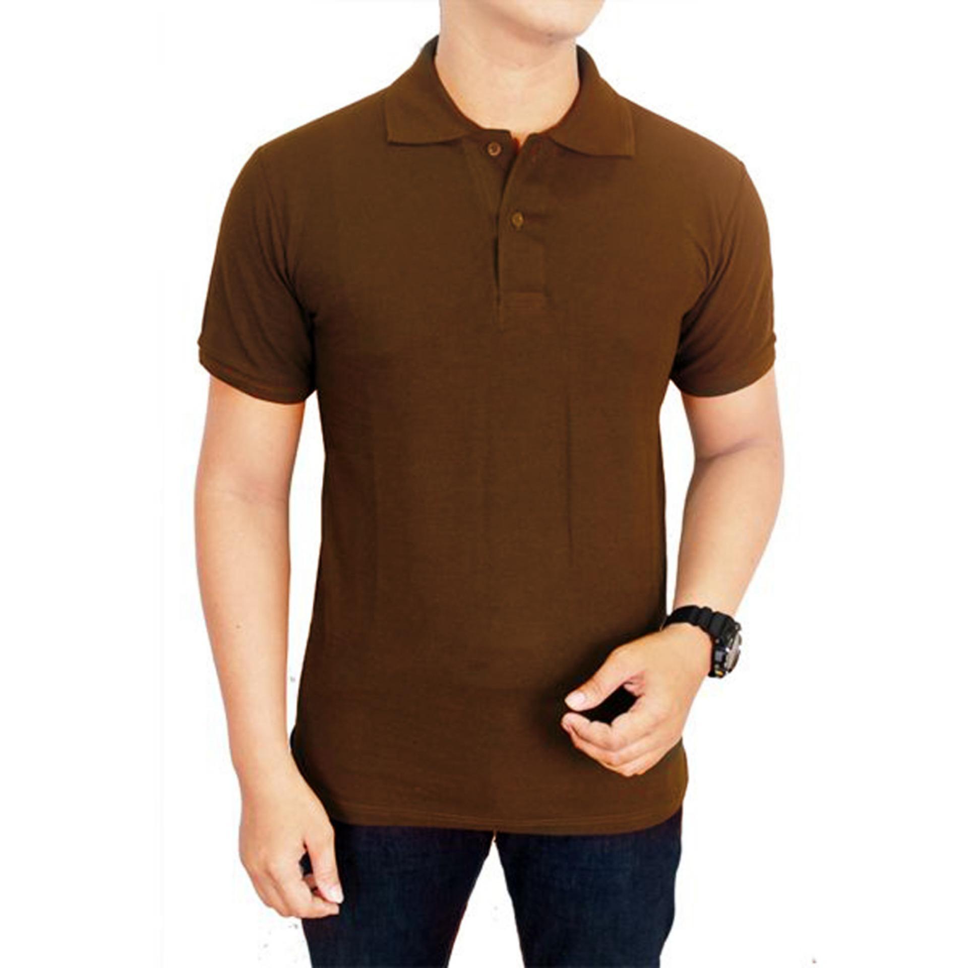Baju Kaos Kerah Coklat Tua - SJ66 - Polo - Lacoste - Makario Maju