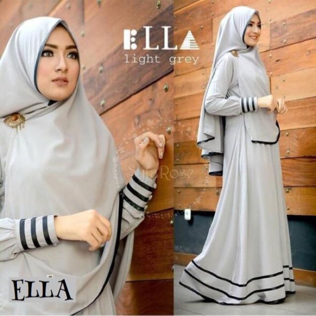 Damai fashion jakarta - baju gamis wanita 2in1 hijab syari ELLA 2 warna - KONVEKSI TERMURAH