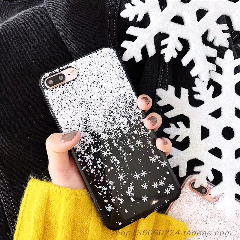 Kepingan Salju Selubung Ponsel Softcase 7 Plus Jepang atau Korea Selatan Bedak Mengkilap Apple Identitas Bungkus Penuh