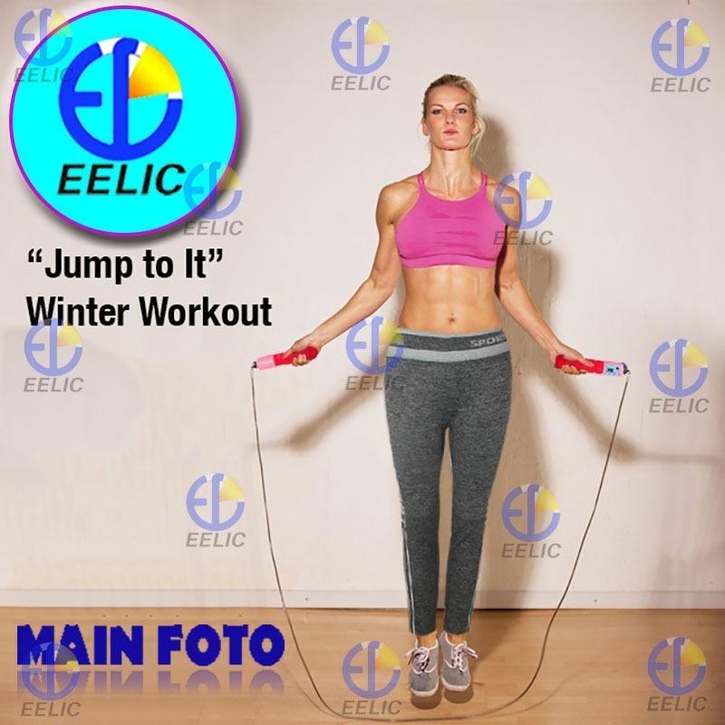 EELIC CLJ-022319 MIX PUTIH-PINK Celana Leging Sport 0022 Motif Garis Putih + JUR- KY319 Skipping Jump Rope Lompat Tali With Counter
