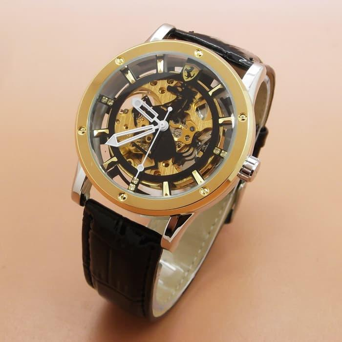 Jam Tangan Pria /Ferrari Skeleton Leather (Combi Black Leather Plat Black) / Jam