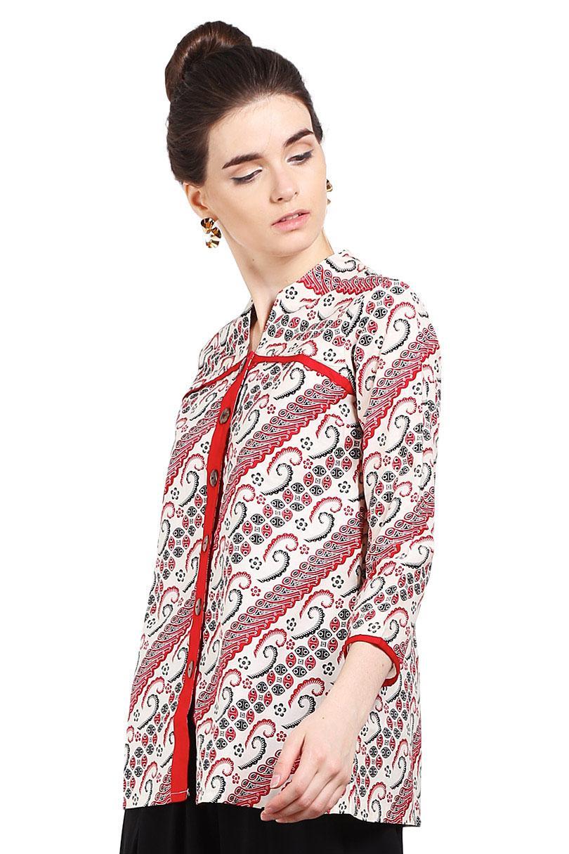 Batik Arjuna Weda Blouse Batik Parang Kawung Merah