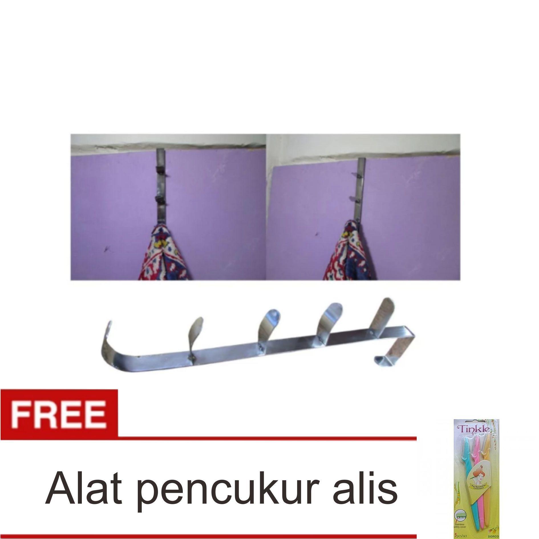Lanjarjaya Stainless Steel Hook Hanger Gantungan Baju Di Belakang Pintu + Pencukur Alis Set