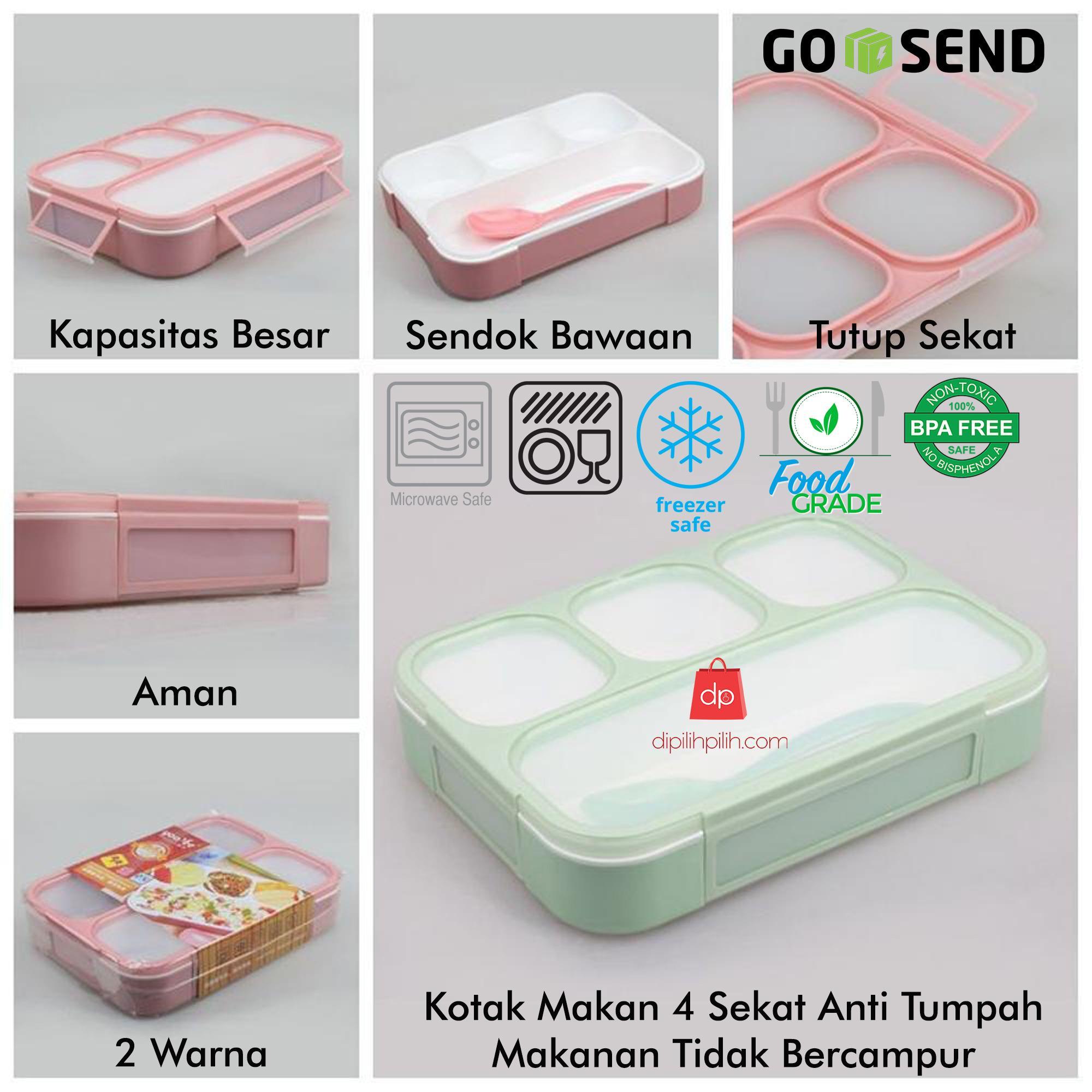 Yooyee 579 Lunch Box Kotak Makan Sekat 3 Grid Bento Anti Bocor Pink 4 Sup Leak Proof