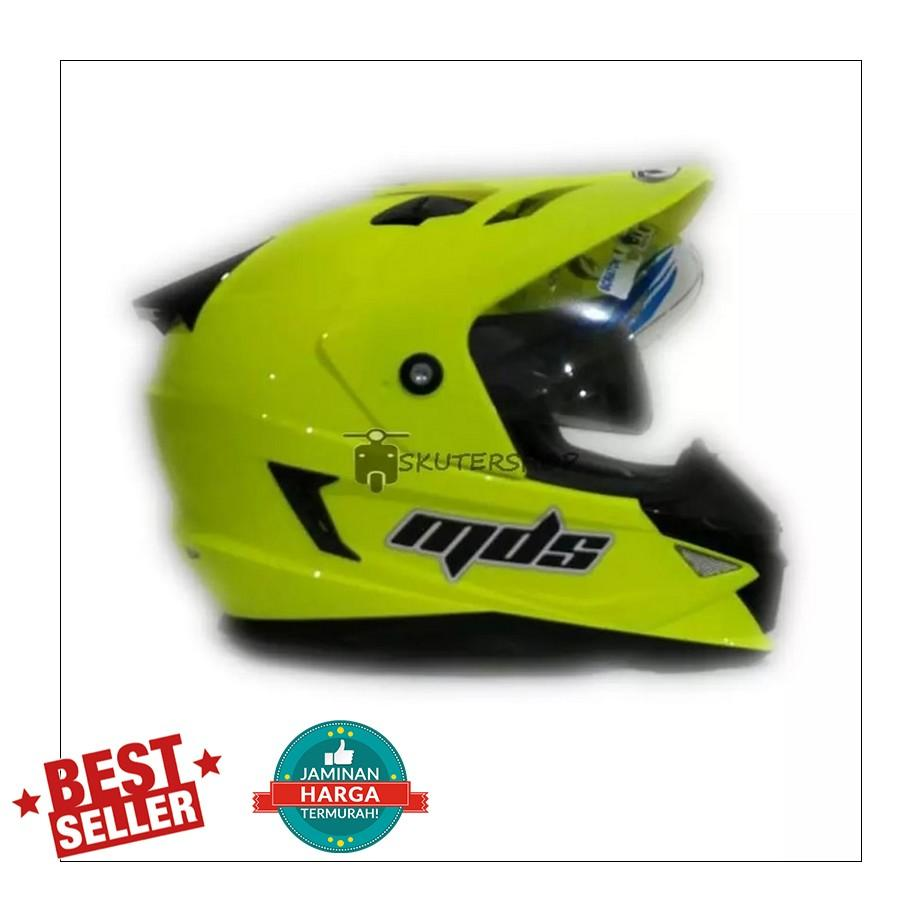 MDS Super Pro Supermoto Double Visor Yellow Fluo Kuning Stabilo