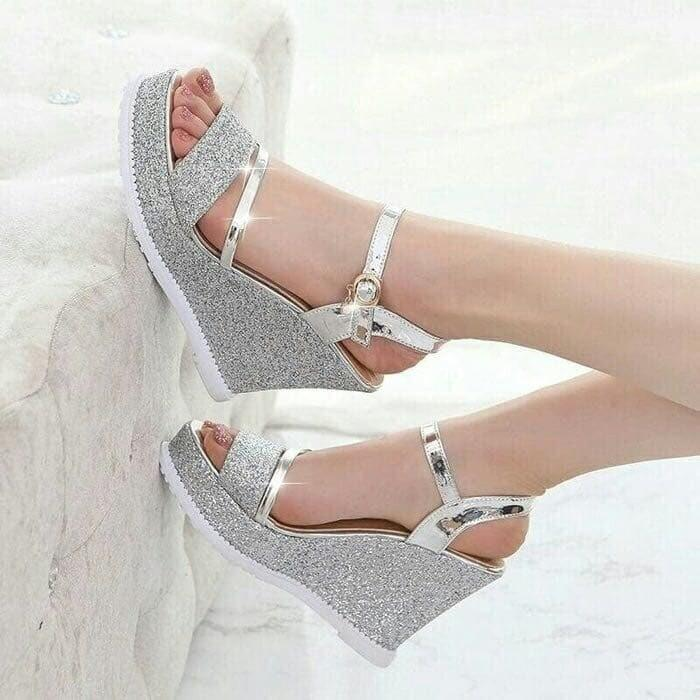 ID_SHOES WEDGES WANITA PASIR GLISTAR