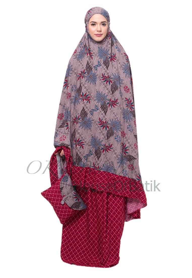 Oktovina-HouseOfBatik Mukena Batik Rayon Premium – Moslem Batik MBRP-1 – Marun / Mukena Batik Jumbo / Mukena Batik / Perlengkapan Shalat / Batik Wanita