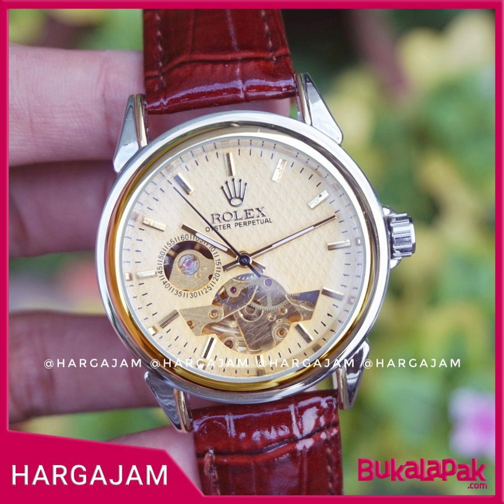 Jam Tangan Automatic Rolex Skeleton Leather R2225 Ring Gold [Hargajam Matic Otomatis]