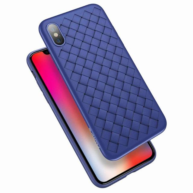 WOVEN Case iPhone X Softcase Back Cover Casing Silicone TPU Jelly Grid Line
