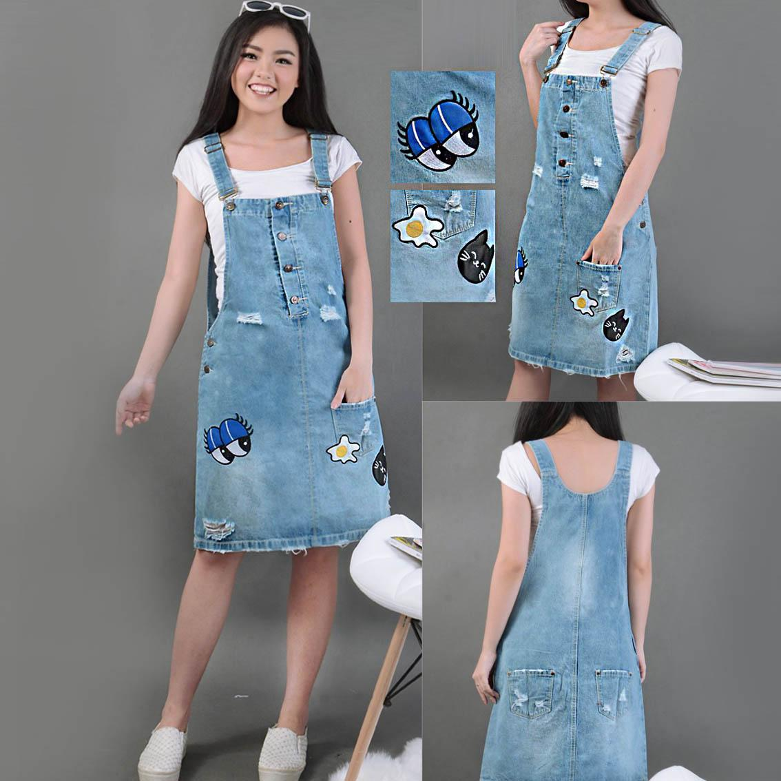 Fashion Atasan tunik  -Dress Overall Jamsuit Jeans - Overall Dress Egg Eye ONE JI18310 - ( Baju Kodok/ Jumpsuit Jeans/ Baju Terusan  )