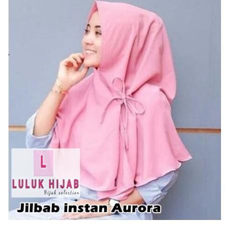 Jilbab khimar jumbo simple pet antem 65 x 75 bergo syari / syar'i instant / hijab instan wolfis (aurora grey)