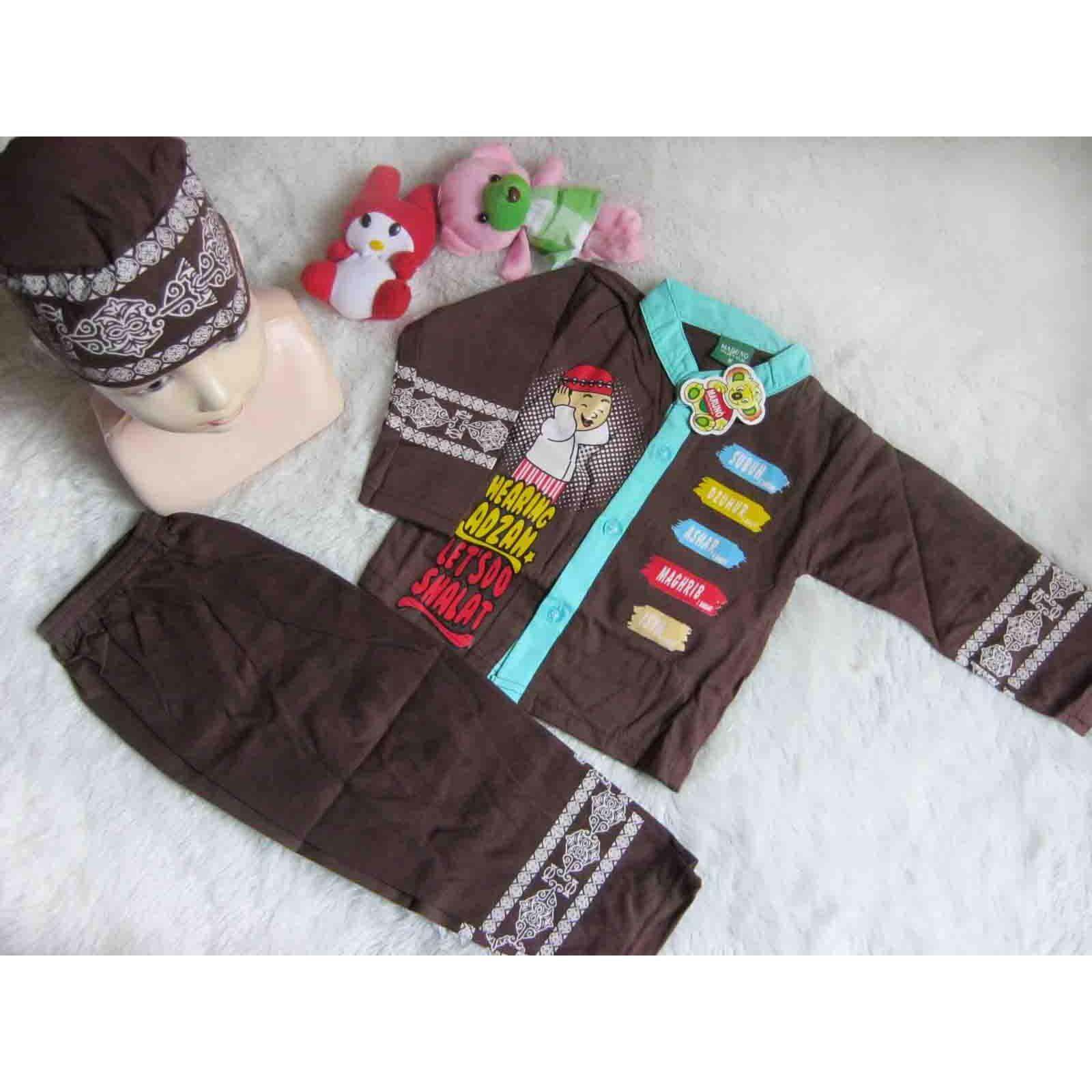 kembarshop - setelan baju koko bayi baju muslim anak uk L 6-15bulan cokelat plus peci motif random