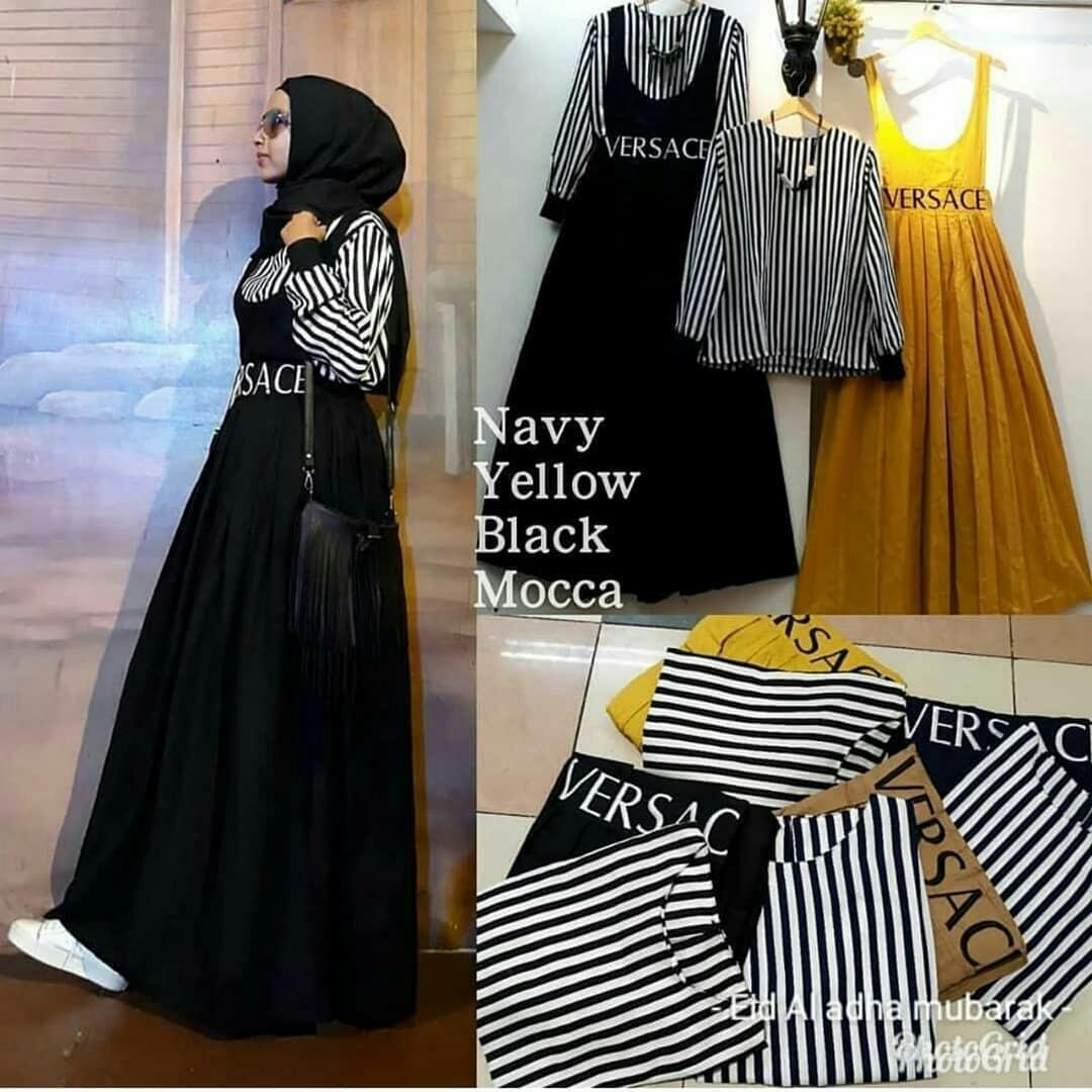 Jual Dress Gamis Muslimah Pilih Warna Babyterry Tebal Adem  Terlaris Kekinian Original Baju Muslim Versace Balotely Supplier Panjang Wanita Maxy Murah Fashion Trendy Grosir