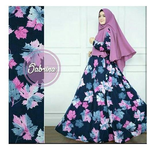 Baju Syar'i Modern Bahan Monalisa - Busana Muslim Motif Bunga Untuk Wanita