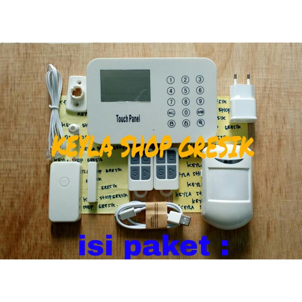Paket set Wireless alarm LCD display digital GSM pengaman pintu jendela rumah alat untuk keamanan Ruko toko Anti Maling dengan sensor gerak PiR motion Home alarm Security system office with remote Control pantau langsung dari HP